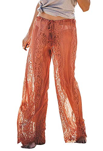 Sheer Womens Bikini - Awoscut Women See Through Sheer Mesh Pants Beach Swimsuit Bikini Bottom Cover up Party Club Elastic High Waist Wide Leg Pants