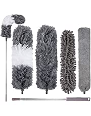 """5PCS Microfiber Duster, Long Feather Dusters with 30'' to 100"""" Telescoping Pole, 4 Replacement Head High Ceiling Fan Duster Cleaning Kit Reusable, Bendable Cobweb Brush for Blinds, Furniture, Car, Gap"""