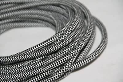 B&W 2-Wire Round Zig Zag 25' - Chevron Cloth Covered Round Cord - UL Listed 25ft Antique Wire - 18/2 Vintage Cord