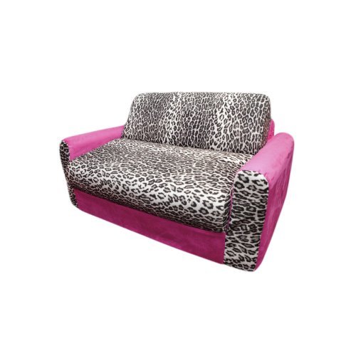 Fun Furnishings Sofa Sleeper, Pink Leopard