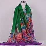 Onlineb2c Women's Cotton Linen Long Scarf Wraps Pashmina Shawls Green