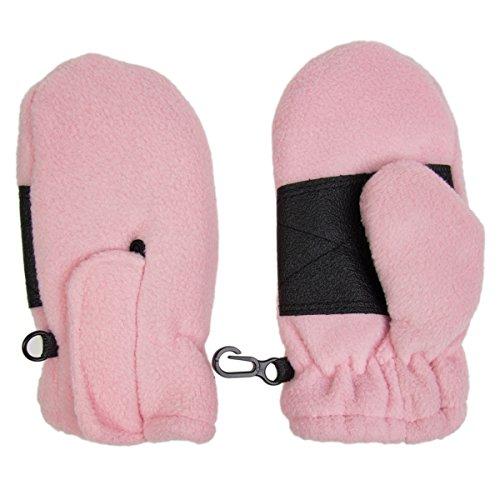 Toddler Fleece Insulated Mittens Boys Girls Velcro Wrist Clips Warm Winter Snow