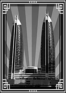 Photo of Damac Tower-Black And White With Silver Border No Text, Mounted (A1)