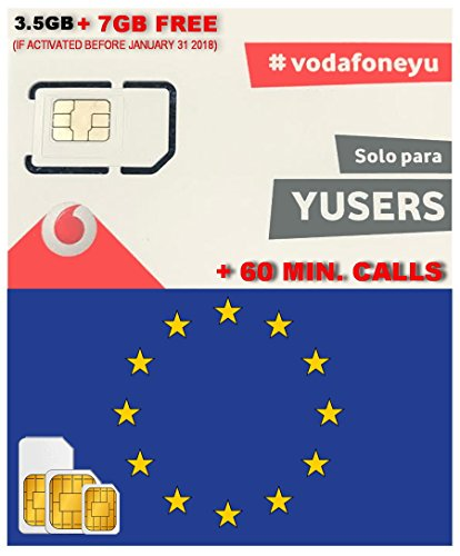 Europe Sim Card By Vodafone Spain 3 5Gb Data   7Gb Free  If Activated Before January 31 2018    10 5Gb Data 4G Speed   60 Min National Calls   Free Incoming Calls   Valid 28 Days From Activation Date