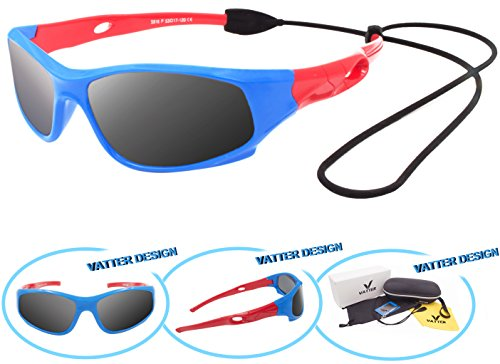 VATTER TR90 Unbreakable Polarized Sport Sunglasses For Kids Boys Girls Youth - Reflecting Sunglasses