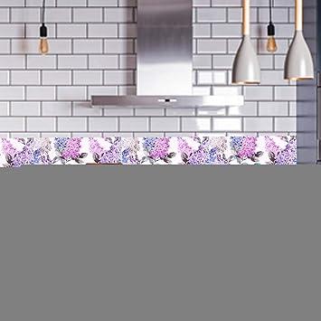 Flores de color púrpura y pegatinas de azulejos con diseño de pájaro 10x10cm Impermeable Impermeable Hogar Azulejo antideslizante Piso Pared Escalera Pegatina Decoración Azulejo para cocina, baño y de: Amazon.es: Hogar