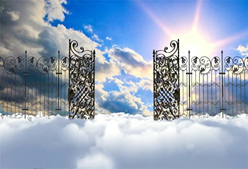 (AOFOTO 5x3ft Heaven Gate Photography Background Paradise Backdrop Blue Sky Clouds Sunshine Sunbeam Religion Belief Philosophical Topic Church Christmas Play Angel Photo Studio Props Vinyl Wallpaper)