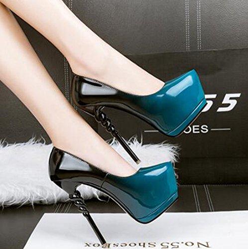 Chfso Donna Sexy Stiletto Gradiente A Punta Corta Slip On Spike Tacco Alto Piattaforma Night Club Pumps Scarpe Blu