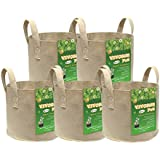 VIVOSUN 5-Pack 5 Gallons Heavy Duty Thickened Nonwoven Fabric Pots Grow Bags with Strap Handles Tan