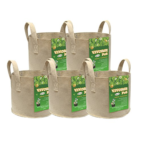 Marijuana Pot - VIVOSUN 5-Pack 5 Gallons Heavy Duty Thickened Nonwoven Fabric Pots Grow Bags with Strap Handles Tan