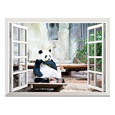Elegant Technique, Quality Creation, Removable Wall Sticker Wall Mural Cute Giant Panda Creative Window View Wall Decor
