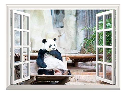 Removable Wall Sticker/Wall Mural - Cute Giant Panda | Creative Window View Wall Decor - 24
