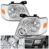 For Ford Explorer / Sport Trac Chrome Housing Clear Lens Amber Turn Side Signal Headlight Head Light Lamp Upgrade Replacement