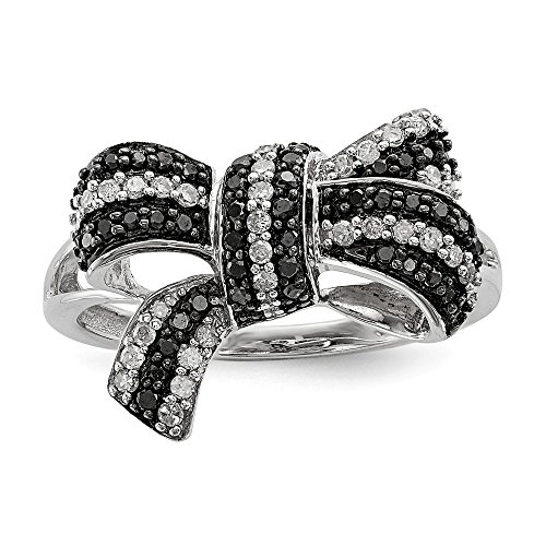 925 Sterling Silver Rhod Plated Black White Diamond Bow Band Ring Size 8.00 Fine Jewelry Gifts For Women For Her