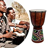 6 Inch African Djembe Percussion Hand Drum Mahogany Wooden Jambe Doumbek Drummer with Pattern Pure Goat Skin Surface