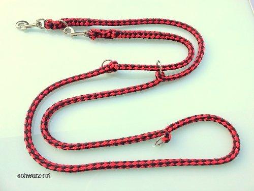 Hundeleine Doppelleine Jumbo schwarz-rot 2,40m 3fach verstellbar für Hunde bis 70kg