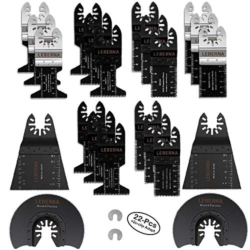 - Leberna Oscillating Multi Tool Blades for Wood, Metal and Plastic - 22 Piece Set - Includes 2 C-Clip Adapters - Quick Release Oscillating Saw Blades by Valiant