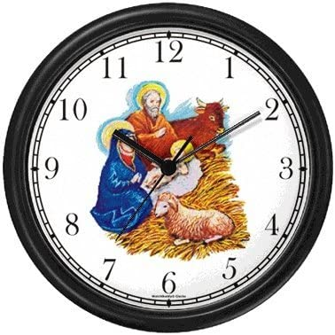 Nativity Scene in Manger Christian Theme Wall Clock by WatchBuddy Timepieces Hunter Green Frame