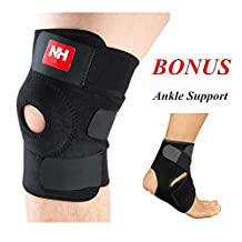 Knee Brace for Running Arthtitis Patella Stabilizer Meniscus Tear Joint Pain Relief,Injury Recovery (Knee Brace + Ankle Support)