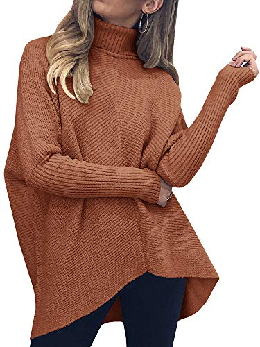 Nulibenna Womens Turtleneck Long Batwing Sleeve Sweater Asymmetric Hem Casual Winter Pullover Ribbed Knit Tops Brick Red