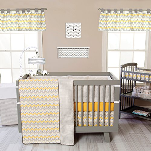 Trend Lab Buttercup Zigzag 3 Piece Crib Bedding Set, Yellow