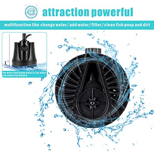 AQQA 265-800GPH Submersible Water Pump,Ultra-quiet Fountain Pump,Ultra-low Water Level With High Lift,Adjustable Flow Rate 2 Nozzles 6ft Power Cord For Aquarium, Fish Tank, Pond, Hydroponics 15W
