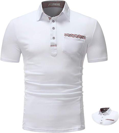Adidase Camisa Polo de algodón para Hombre, Camisa de Polo Solapa a Cuadros Camisa Delgada de Manga Corta: Amazon.es: Deportes y aire libre