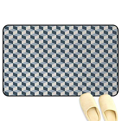 - Retro Office Chair Mat 3D Style Cubes Squares Pattern Geometric Old Fashioned Abstract Futuristic Blue Pale Blue White Hard Floor Protection W16 x L24 INCH