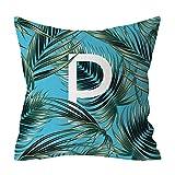 YAYUMI Polyester Print Pillow Case,Pillow Cover Fashion Botanical Letter Pillowcase Sofa Cushion Cover 45cm x45cm/18x18 inches for Home Decor