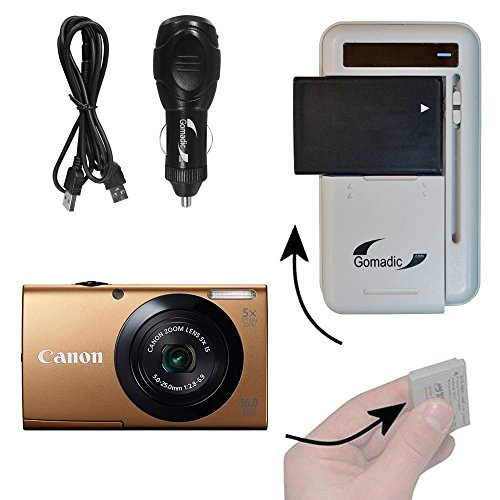 Gomadic Compact Multi External Battery Charge System designed for the Canon Powershot A3400. USB, Car and Wall charging connections by Gomadic