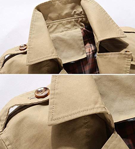 Kaki A Da Vestito Jack Giacca Turno Uomo Slim Del Sportiva Giù Ntel Monopetto Parka Trincea Streetwear Fit Vento Autunno Tuta Collare qwPtfFSw