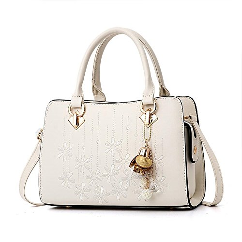 Women's Designer Shoulder Handbags Top Handle Satchel Tote PU Leather Handbags and Purses (white) by OxsOy
