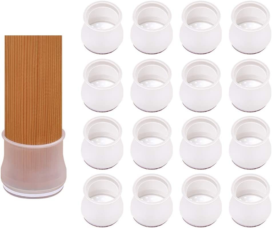 Wofasi Silicone Chair Leg Caps with Felt 16PCS Protectors for Hardwood Floors Tile Floors Table Mute Moving Prevent Scratches Furniture Feet Leg Protectors Elastic Cover Reduce Noise Anti Slip
