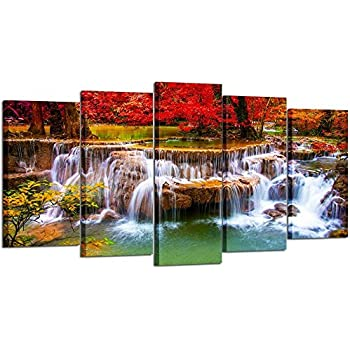Kreative Arts Canvas Print for Living Room Decoration Stretched 5 Panels Green Dreamlike Waterfall Painting Wall Art Picture Print on Canvas- High Definition Modern Home Decor
