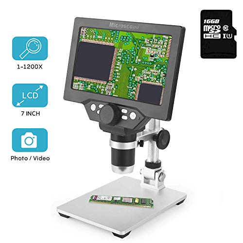 LCD Digital Microscope 7 in HD Screen 1200X Magnification Zoom Camera Video Recorder Angle Adjustable Microscope, 8 LED Lights, Built-in 3000 mAh Battery Rechargeable (7 inches with 16G SD Card) (3000x Zoom)