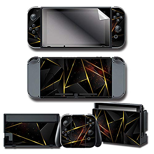 WENSEN Nintendo Switch Decal Stickers Skin & Screen Protector Set for Nintendo Switch Console & Joy-con Controller & Dock Protection Kit (Black)