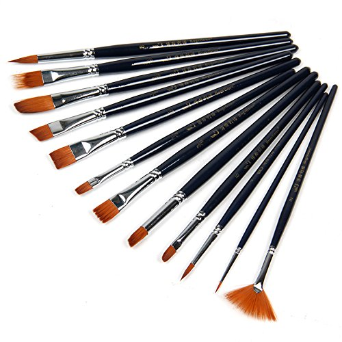 12pcs-paint-brushes-set-nylon-hair-painting-brush-variety-style-short-rod-oil-acrylic-brush