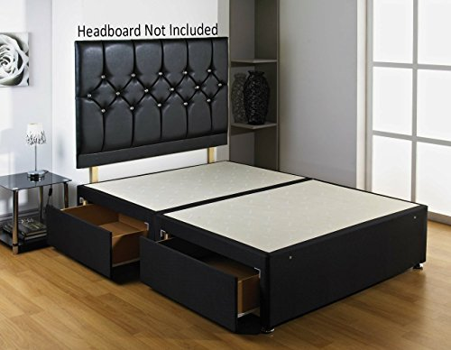 Double Diamond Divan Bed Base Comes with 2 Drawers -No Headboard SOMNIOR BEDS LTD BLK-DMOND-BASE-2D-SS