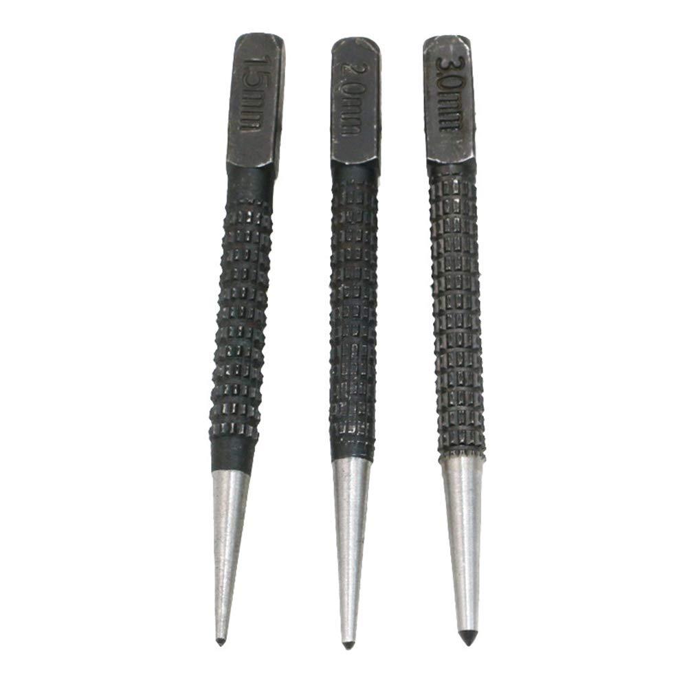 Juego de 3 marcadores de perforaci/ón autom/áticos con tapa de coj/ín y impacto ajustable de madera herramienta de perforaci/ón de acero al carbono antideslizante