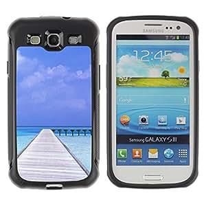 Pulsar Defender Series Tpu silicona Carcasa Funda Case para SAMSUNG Galaxy S3 III / i9300 / i747 , Nature Beatiful Carribean Bach
