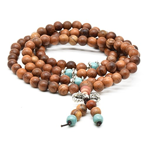 Rope Rel - Rel Goods Men Women's Natural Chinese Yew Wood Beads Necklace Bracelet Link Boutique Prayer Mala Chinese Knot Elatic Bead (6mmSEx108)