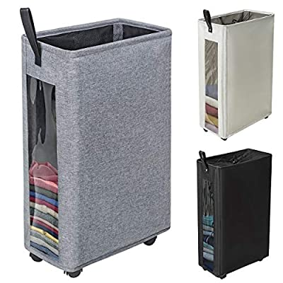 """ZERO JET LAG 27 inches Slim Laundry Hamper Large Tall Laundry Basket on Wheels Clear Window Visible Dirty Clothes Hamper Thin Clothes Storage Standable Corner Bin Handy 16""""×8.6""""×27"""" Dark Grey - 【HEIGHTEN & WIDEN SIZE】 The updated laundry basket allows you to pack more clothes than before,at least 3 to 4 more clothes.so you don't have to go to the laundry room often.Refer size:16""""×8.6""""×27"""" Capacity:62L / 13.6gal 【CLEAR & SIMPLY 】With a transparent window, you do not need to go through of piles before you find what you are looking for. Save time, just peep through the """"window"""" and see if to open. 【PU HANDLE & WHEEL DESIGN】Comfortable PU handle allow you to easily move a dirty laundry basket.The wheels under the hamper make it easy to transport. - laundry-room, hampers-baskets, entryway-laundry-room - 51NnF9DA%2BIL. SS400  -"""