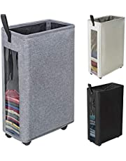 """ZERO JET LAG 27 inches Slim Laundry Hamper Large Tall Laundry Basket on Wheels Clear Window Visible Dirty Clothes Hamper Thin Clothes Storage Standable Corner Bin Handy 16""""×8.6""""×27"""" Blue"""