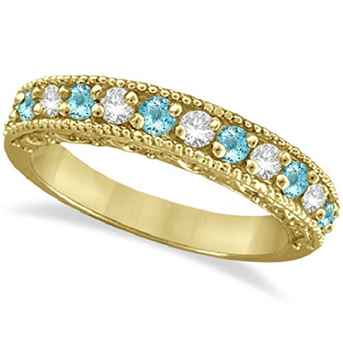 0.60ct Womens Blue Aquamarine Gemstone and Round Diamond Filigree Design Ring Band 14k Yellow Gold