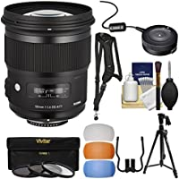 Sigma 50mm f/1.4 ART DG HSM Lens with USB Dock + 3 Filters + Tripod + Strap + Diffusers + Kit for Nikon Digital SLR Cameras
