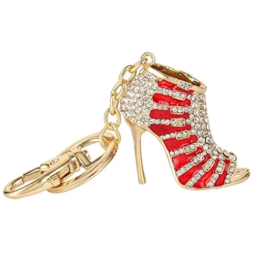 EVER FAITH Austrian Crystal Red Enamel Sexy High Heel Shoe Keychain Clear Gold-Tone