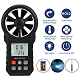 Digital Anemometer, LIUMY Wind Speed Gauge for Measuring Speed (Avg/Max/Min), Temperature, Wind Chill with Adjustable LED Backlight and Flashlight, Suitable for Outdoor Climbing, Surfing