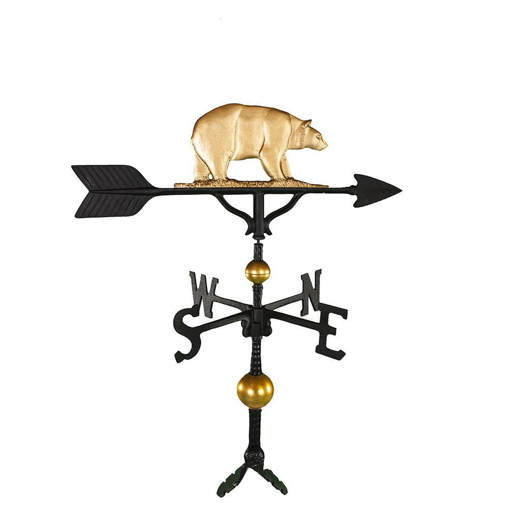 Montague Metal Products 32-Inch Deluxe Weathervane with Gold Bear Ornament