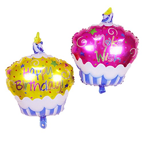 UTOPP 18 Inches Happy Birthday Foil Mylar Balloons Cupcake Make A Wish Balloons Pack of 2