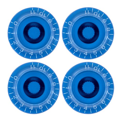 4pcs Blue 0-11 Knobs ABS Top Hat Bell Knob Guitar Volume Tone Control Knob 6mm